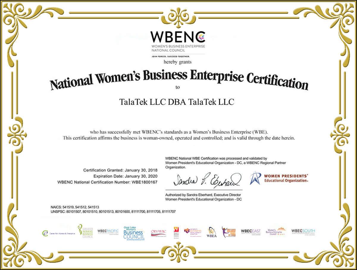 WBENC Certificate